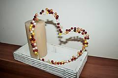 Dekorácie - Korálkové srdiečko červené - 6305832_