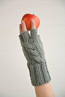 Rukavice - Pletené rukavice, bezprsťáky-šedé - 6306321_