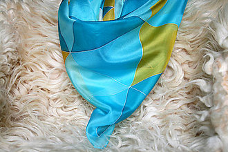 Šatky - Maľovaná hodvábna šatka Triangle Karibský Koňak - 6307753_