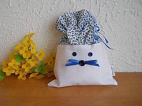 Úžitkový textil - Zajko uško - modré vrecúško - 6312326_