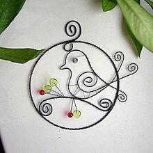 Dekorácie - vtáčik v kruhu - 6310047_