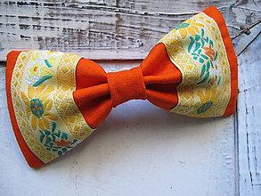 Doplnky - Pánsky motýlik folkový-oranžový - 6309997_