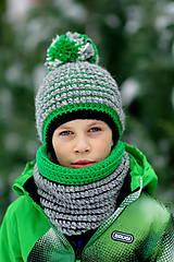 - ...detská čiapka + nákrčník podšitý flísom ALPAKA + MERINO - 6312818_