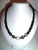 Náhrdelníky - náhrdelník z ónyxu, ametystu a horského kryštálu - 6313715_