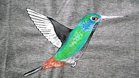 Oblečenie - Šedé tričko s kolibríkom - 6310741_