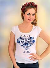 Tričká - Ručne maľované tričko I Love FOLK... - 6312227_