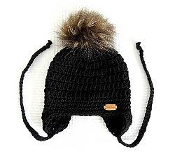 Detské čiapky - Čierna s kožušinovým brmbolcom - 6310230_