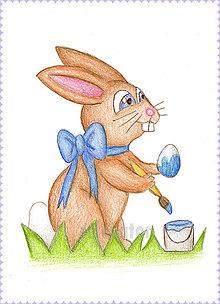 Kresby - Veľkonočný zajačik, kresba ako pohľadnica - 6312628_