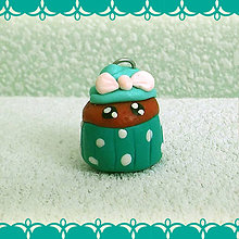 Kľúčenky - Koláčik a lá muffin kľúčenka (puntíky) - 6312791_