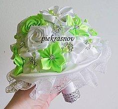 Kytice pre nevestu - svadobná látková kytica bielo - zelená - 6317188_