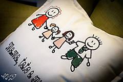 """Úžitkový textil - Vankúšik """"Mama,tato a my dve"""" - 6319609_"""