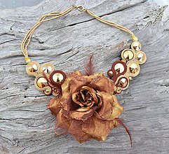 Náhrdelníky - Soutache náhrdelník Gold Cinnamon - 6316255_