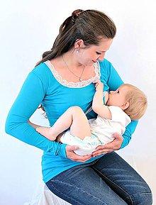 Tehotenské/Na dojčenie - Dojčiace tričko 3v1 dl. rukáv - s čipkou - 6314925_