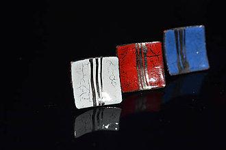 Náušnice - čtverečky s platinou - 6315673_