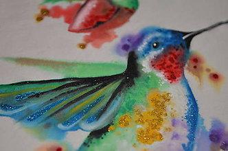 Tričká - kolibrík v rajskej záhrade - 6322223_