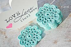 Úžitkový textil - Mentolové květy jako podložky pod hrnky - 6322246_