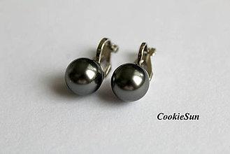 Náušnice - Klipsne Swarovski Pearls Dark Grey Rh - 6323792_