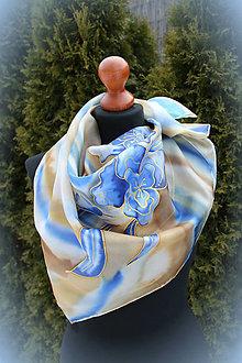 Šatky - Modré kvety na béžovej... - 6322236_