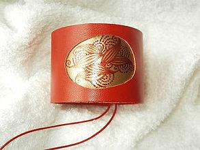 Náramky - Náramok kožený, zlatý ovál - 6322340_