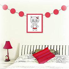 Tabuľky - Girlanda so zvieratkom do detskej izby - mačka - 6323326_
