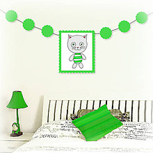 Tabuľky - Girlanda so zvieratkom do detskej izby (kocúr) - 6323327_