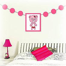 Tabuľky - Girlanda so zvieratkom do detskej izby (medvedica) - 6323329_