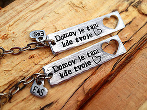 Kľúčenky - Domov je tam, kde je tvoje srdce :) / 2mm hrúbka / cena za 2 - 6328484_