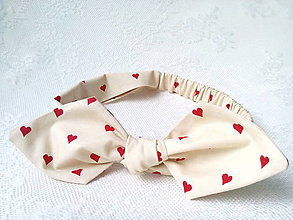Ozdoby do vlasov - Pin Up Valentine headband on elastic (cream/red hearts) - 6325246_