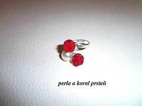 Prstene - perla a koral prsteň - 6326647_