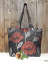 Nákupné tašky - Veľká nákupná taška s bordovými kvetmi - 6324392_