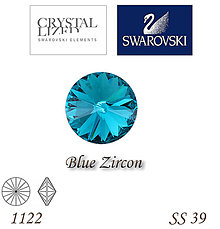 Korálky - SWAROVSKI® ELEMENTS 1122 Rivoli - Blue Zircon, SS 39(8mm), bal.1ks - 6326123_
