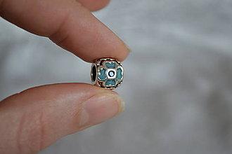 Korálky - Pandorková korálka modré kvety, 0.50€/ks - 6325118_