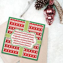 Papiernictvo - Vianočná pohľadnica s básničkou (vianočné farby) - 6326929_