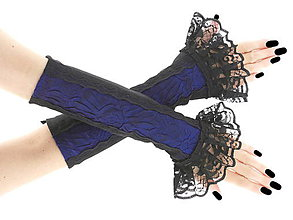 Rukavice - Dámské rukavičky modro čierné s čipkou  0200 - 6332015_