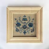 - Akvarel folk maľba 18x18cm originál, s dreveným rámom - 6330270_