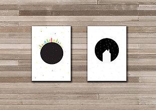 Papiernictvo - Když se setmí / pohlednice / tištěná ilustrace (A6) - 6329567_