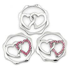 Komponenty - SPE4114, Zaisťovací prívesok Double Hearts STRIEBRO /1ks - 6330129_