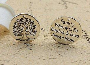 Komponenty - Prívesok - FAMILY WHERE LIFE BEGINS & LOVE NEVER ENDS - 6333030_