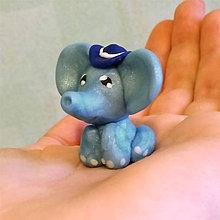 Hračky - Sladký sloník (belasý a klobúčik) - 6333860_