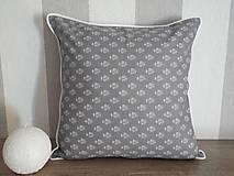 Úžitkový textil - vintage vankúš 40x40cm šedobiely vzor - 6334681_