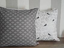 Úžitkový textil - vintage vankúš 40x40cm šedobiely vzor - 6334716_