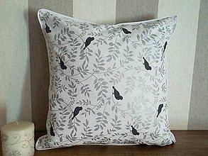 Úžitkový textil - vankúš 40x40 strieborno - šedý vtáčik - 6334772_