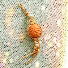 Kľúčenky - Shamballa kľúčenka - pomarančovo karamelová - 6336010_