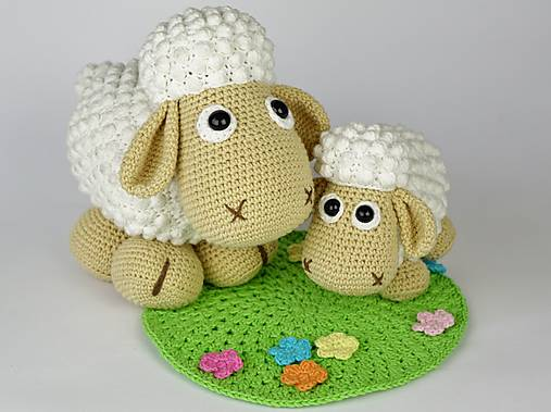 Ovečka Wolli a jehňátko Lucky na jarní louce - návod