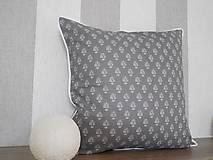 Úžitkový textil - vintage vankúš 40x40cm šedobiely vzor - 6338453_