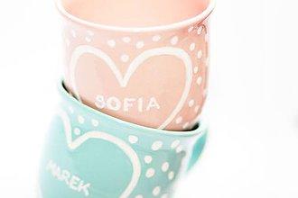 Nádoby - Valentínsky ružový a mentolový hrnček s bodkami pre Teba - 6340355_