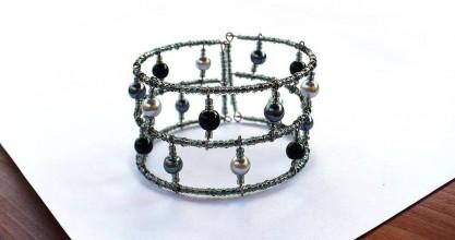 Náramky - Unisize sivý perličkový náramok - 6340963_