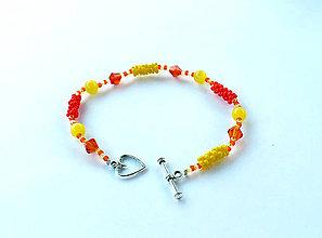 Náramky - Náramok v citrusových farbách so srdiečkom - 6341008_