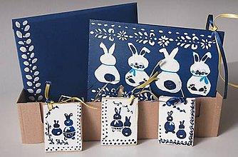 Dekorácie - Sada-Veľkonočný zajkovia maľovaný - 6342455_