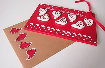 Papiernictvo - Drevená pohľadnica - plná lásky - 6342650_
